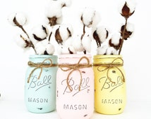 Set of 3 Mason Jars, Mason Jars, Easter Decor, Easter Centerpieces, Spring Decor, Easter, Spring, Easter Gift, Easter Basket