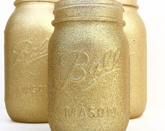 Gold Mason Jar, Wedding Centerpieces, Shower Centerpieces, Gold Centerpieces, Gold Mason Jar, Country, Wedding, Glitter, 50th, Glitter Mason