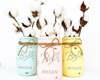 Mason Jar Trio Decor Easter Centerpieces Spring