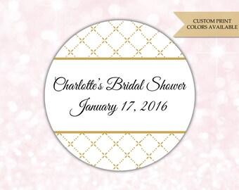 Bridal shower stickers - Bridal shower labels - Bridal shower favor stickers - Black and gold Bridal shower (RW022)