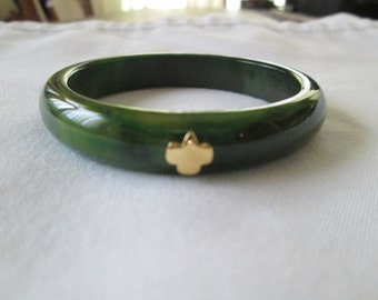 20% SALE 1940s Girl Scout Marbled Bakelite Bangle Bracelet