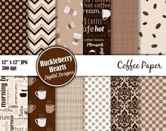 Coffee Paper, Digital Coffee Paper, Coffee Scrapbook Paper, Printable, Commercial Use
