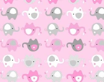 Elephant Fabric, Fleece Fabric, Baby Fabric, Kids Fabric, AnimalFabric, NoveltyFabric, Blanket/Quilt/Baby/Nursery/Crib Fabric Yard/Half Yard