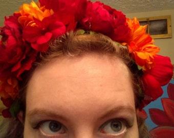 Orange Dahlia and Red Peony Flower Crown