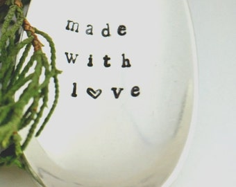 Stamped serving spoon/ Made With Love-Christmas hostess gift-Thanksgiving serving spoon