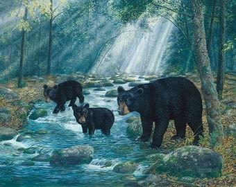 Black Bear Wall Decor, Large Wall Art Print, Large Bear Painting, Bear Cabin Wall Art, Bear Poster, Bear Print, Bear Art, Wildlife Art-5250