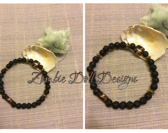 Handsome men's/unisex lava rock and tiger eye elastic diffuser bracelet! Stately :-)
