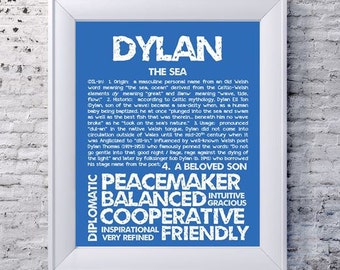 DYLAN Personalized Name Print / 11x14 / Typography Print / Detailed Name Definitions / Numerology-calculated Destiny Traits / Educational