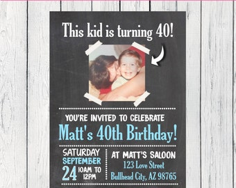 Any Year Photo Birthday Personalized Chalkboard invitation (INVITE-KIDBLUE11)