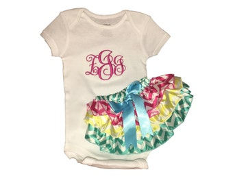 Monogrammed baby girl onesie and bloomers. Pink, white, yellow and pink chevron ruffle bloomers. Any color for monogram