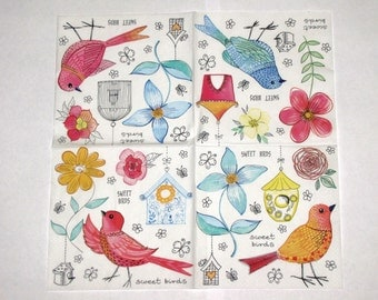 "6 Decoupage  Napkins Birds3x33 cm. 13""x13"" 6pcs  Napkins"