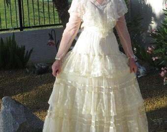 Vintage Gunne Sax Romantic Renaissance Bridal Collection cream lace dress