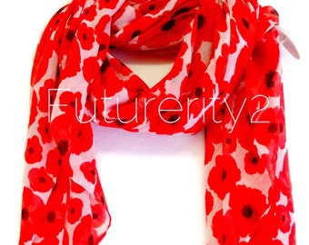 Small Red Poppy Beige Summer Scarf Spring Scarf / Autumn Scarf / Gift For Her / Women Scarves / Fashion Accessories