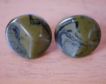 Bakelite Olive Green Marbled Screw Back Earrings