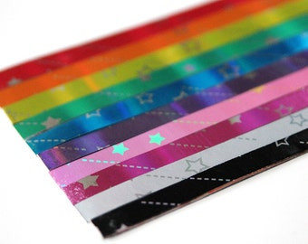 Rainbow laser paper strips for lucky stars - 60 paper strips for origami stars