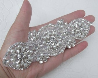 Crystal applique, rhinestone applique, wedding applique, beaded crystal patch, DIY wedding sash, headband, headpiece
