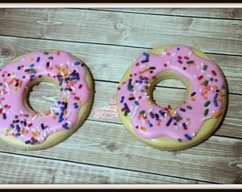"""Donut decorated Sugar Cookies 3"""" -1 dozen"""