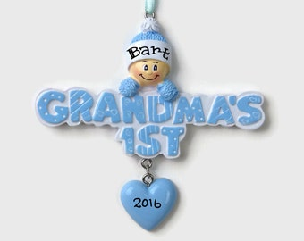 Grandma's First Grandson  - Baby Boy - Baby's First Christmas - Hand Personalized Christmas Ornament