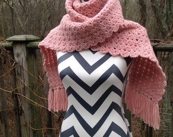 Rose pink scarf. Scarf. Crocheted scarf.