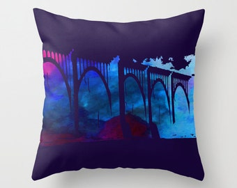 Dark Blue RVA, Richmond VA, Art, CSX, Train Bridge, Watercolor Pillow