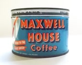 Maxwell House Coffee Tin, Vintage Coffee Tin, Key Wind Tin, Drip Grind, General Foods Limited