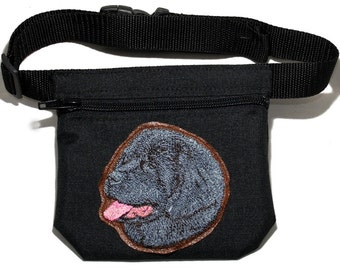 Embroidered dog treat waist bag. Breed - Newfoundland. For dog shows and training. Great gift for breed lovers.