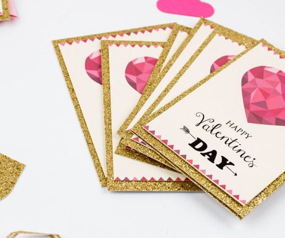 Valentine Day Kid Cards Kids Valentine Card Boxed set Children Valentine Day. Gold Glitter Card, Set of 10