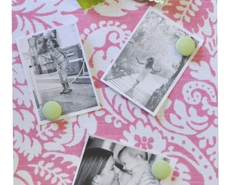 30% OFF Pink & Green Damask Magnet Message or Photo Board
