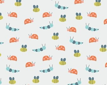 Garden Friends in Citron, Spring Walk Collection by Little Cube for Cloud 9 Organic Fabrics