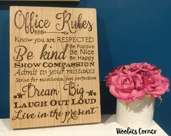 Office decor, Office Rules, Rustic wood signs, Rules for the office, WOOD BURNED office sign, Positive office decor, Rustic office decor