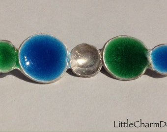 Blue and Green Enamel Pendant, Bar Necklace, Asymmetrical Domed Circles, Sterling Silver