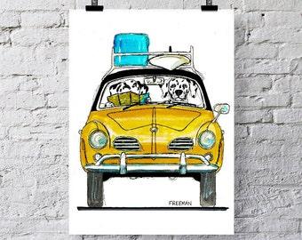 Karmann Ghia VW with Dalmatians.  Greetings card  /  Art print