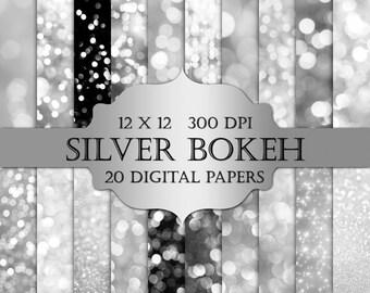 Bokeh Digital Paper -  silver bokeh, silver glitter, bokeh backgrounds, christmas digital paper, bokeh backdrop, bokeh potography overlays
