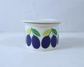 Arabia Finland Jam Jar with Plum Graphic and Lid - Arabia Pomona Series by Ulla Procope