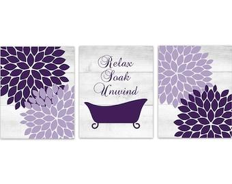 Superior Bathroom CANVAS Or PRINTS, Purple Bathroom Decor, Relax Soak Unwind, Claw  Tub Art