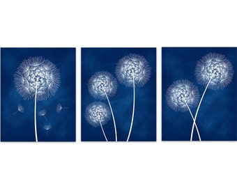 Home Decor CANVAS Wall Art, Blue Dandelion Art, Photo Prints, Bathroom Wall Decor, Navy Bedroom Decor, Dandelion Nursery Wall Art - HOME205