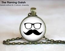 Moustache. Mustache and Glasses Pendant. Hipster Pendant/Keyring/Necklace. Gift Under 20. Handmade in Australia (P1227)