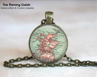 SCOTLAND Map Pendant • Scottish Map • Map of Scotland • Vintage Map of Scotland • Gift Under 20 • Made in Australia (P1213)