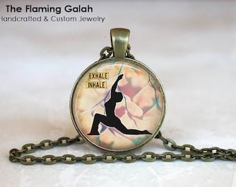 YOGA Pendant •  Warrior Pose •  Gift for a Yogi •  Pink Yoga Pose •  Yoga Warrior •  Yoga Jewellery •  Made in Australia •  (P0355)
