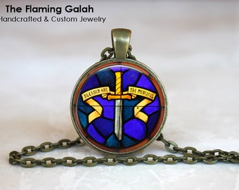 CHRISTIAN STAINED GLASS style Necklace •  Church Window •  Religious •  Made in Australia •  (P0674)