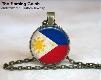 PHILIPPINES Flag Pendant • Vintage Philippine Flag • South East Asia • South East Asia • Gift Under 20 • Made in Australia (P1129)