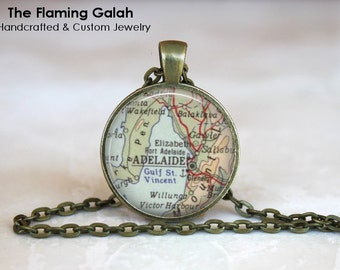 ADELAIDE Map Pendant • Vintage Adelaide Map • Old Adelaide Map • Map of Adelaids • Gift Under 20 • Made in Australia (P1180)