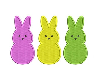 Three Little Easter Bunnies Filled Machine Embroidery Digitized  Design Pattern - Instant Download - 4x4, 5x7, 6x10