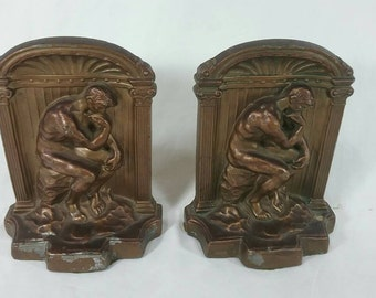 Vintage set of cast metal art deco thinking man bookends