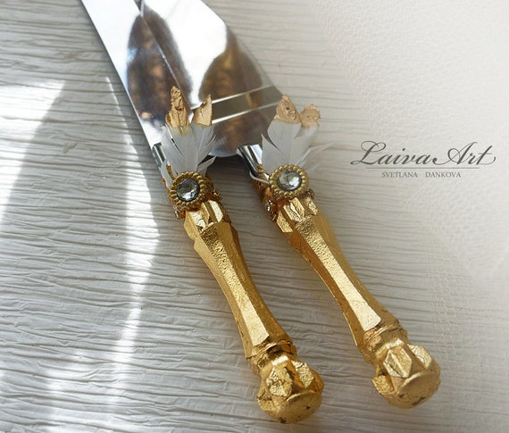 gold wedding cake knife gold wedding cake server set amp knife wedding cake by laivaart 14814