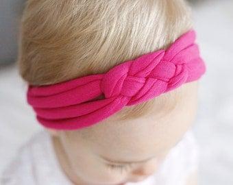 Hot Magenta sailors knot baby headband - newborn headwrap