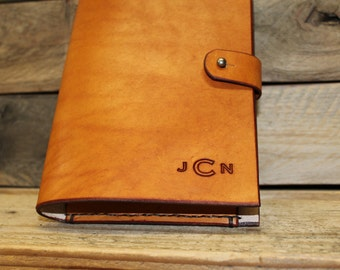 "Monogram Initials Journal, Refillable Leather Journal, Leather Monogram, 5""x7"" Paper Included, Personalized Custom Journal, Button Stud"