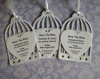 12 Personalised WHITE 'Save The Date' BIRDCAGE Tags + Envelopes