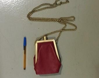 Mini shoulder leather bag handbag cross-body in red