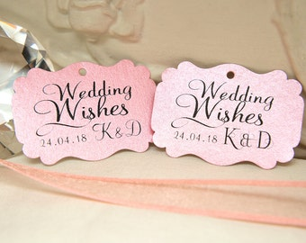 Custom Wishing Tree Tags. Wedding Wishes with Initials and date. Blush Pink Wedding cards. Rectangle printed favour tags. Pearlised card